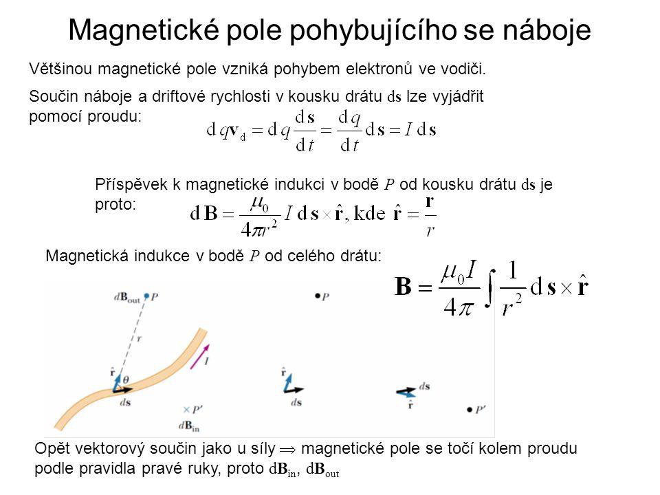 Magnetické pole pohybujícího se náboje Většinou magnetické pole vzniká pohybem elektronů ve vodiči. Součin náboje a driftové rychlosti v kousku drátu