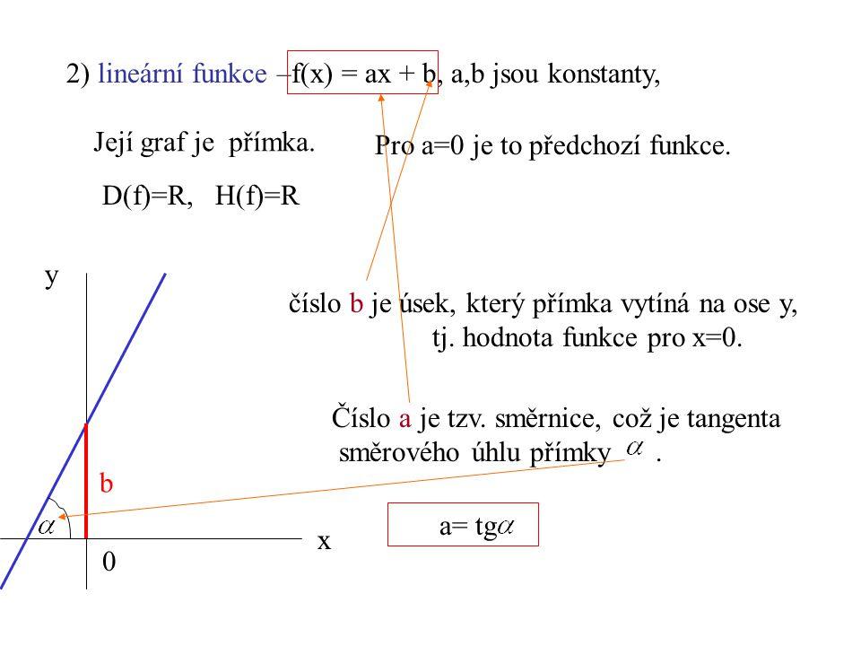 2) lineární funkce –f(x) = ax + b, a,b jsou konstanty, D(f)=R, H(f)=R číslo b je úsek, který přímka vytíná na ose y, tj. hodnota funkce pro x=0. Číslo