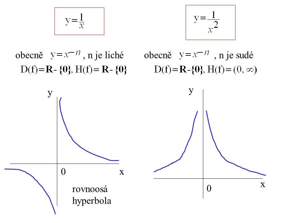 obecně, n je lichéobecně, n je sudé x y 0 x y 0 rovnoosá hyperbola