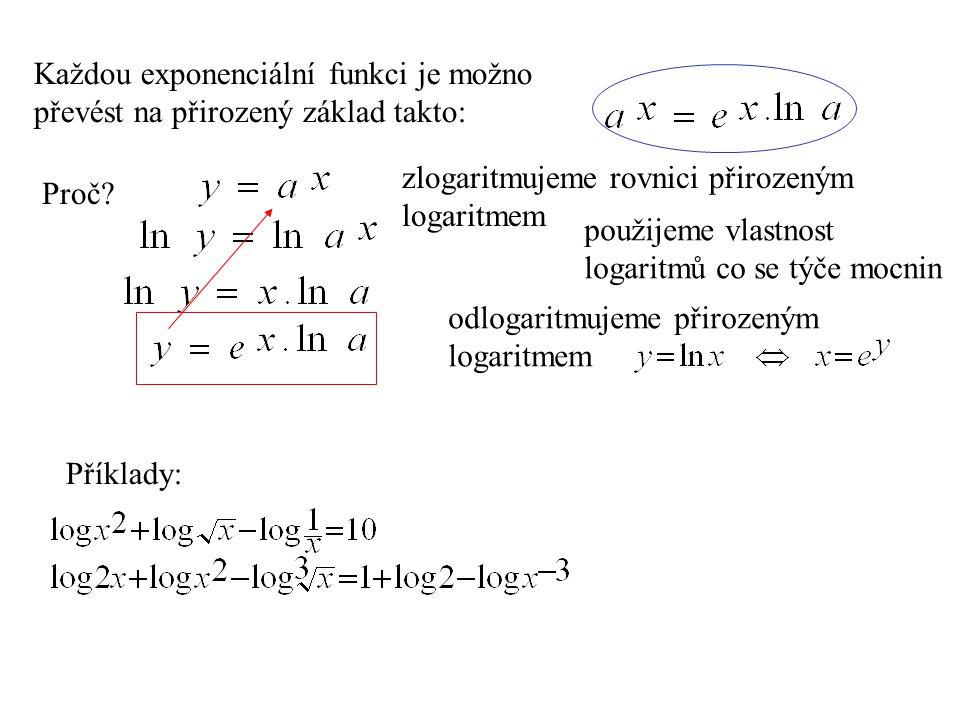 Příklady: Každou exponenciální funkci je možno převést na přirozený základ takto: Proč? zlogaritmujeme rovnici přirozeným logaritmem použijeme vlastno