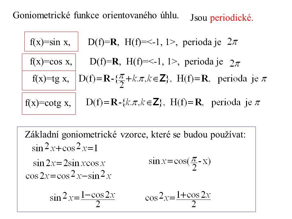 f(x)=sin x, D(f)=R, H(f)=, perioda je Jsou periodické. f(x)=cos x, D(f)=R, H(f)=, perioda je f(x)=tg x, f(x)=cotg x, Základní goniometrické vzorce, kt