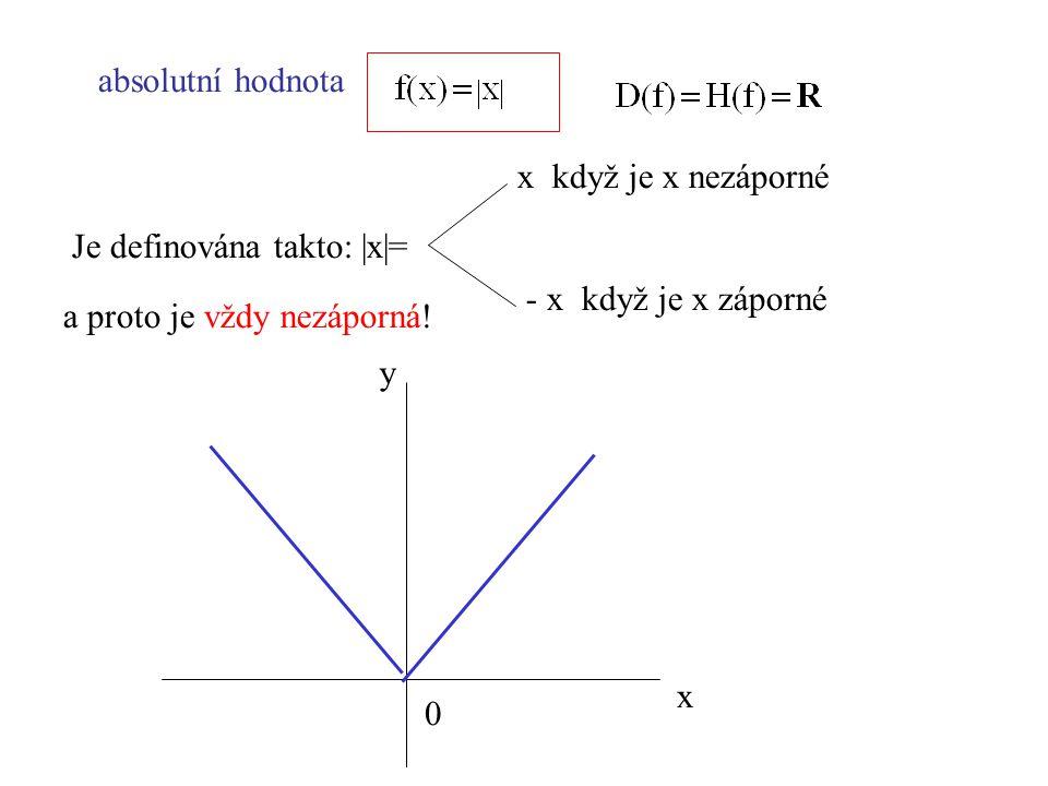 absolutní hodnota Je definována takto: |x|= x když je x nezáporné - x když je x záporné a proto je vždy nezáporná! x y 0