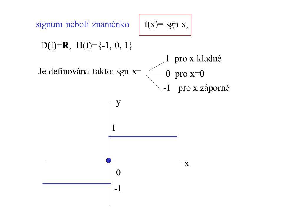 signum neboli znaménkof(x)= sgn x, Je definována takto: sgn x= 1 pro x kladné 0 pro x=0 -1 pro x záporné D(f)=R, H(f)={-1, 0, 1} x 0 y 1