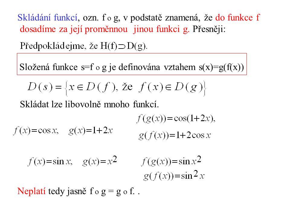 Skládání funkcí, ozn. f o g, v podstatě znamená, že do funkce f dosadíme za její proměnnou jinou funkci g. Přesněji: Složená funkce s=f o g je definov