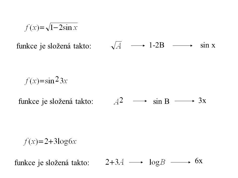 funkce je složená takto: 1-2Bsin x funkce je složená takto:sin B 3x funkce je složená takto: 6x