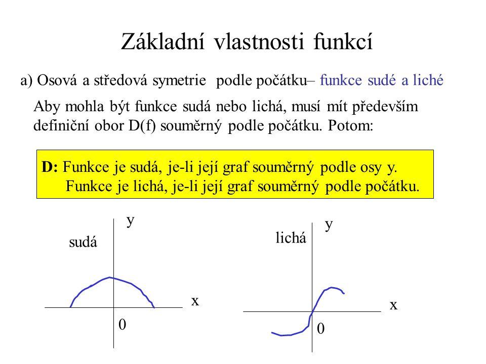 Základní vlastnosti funkcí a) Osová a středová symetrie podle počátku– funkce sudé a liché Aby mohla být funkce sudá nebo lichá, musí mít především de
