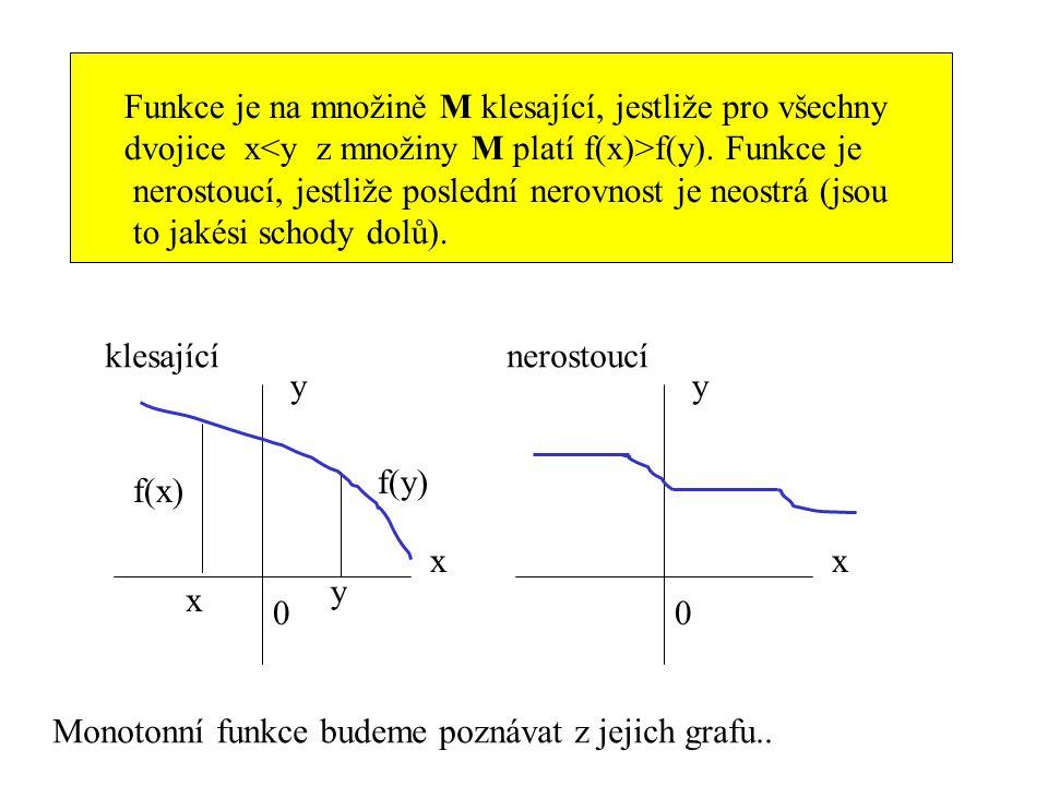 Funkce je na množině M klesající, jestliže pro všechny dvojice x f(y). Funkce je nerostoucí, jestliže poslední nerovnost je neostrá (jsou to jakési sc