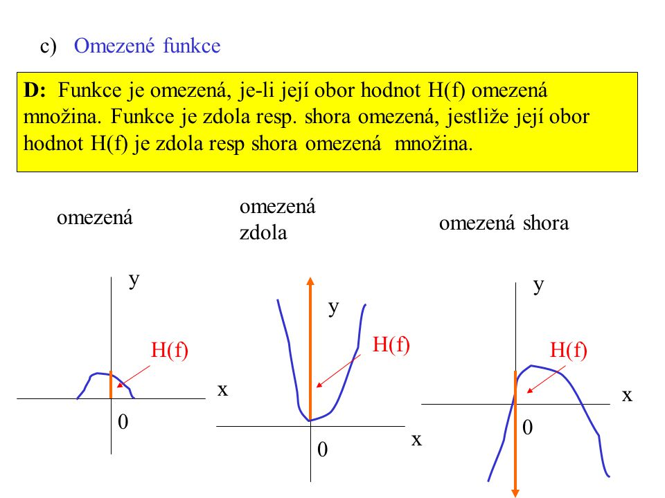 c) Omezené funkce D: Funkce je omezená, je-li její obor hodnot H(f) omezená množina. Funkce je zdola resp. shora omezená, jestliže její obor hodnot H(