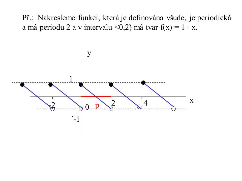 Př.: Nakresleme funkci, která je definována všude, je periodická a má periodu 2 a v intervalu <0,2) má tvar f(x) = 1 - x. x y 0 24 -2p 1 ´-1
