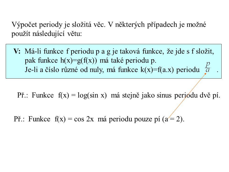 Výpočet periody je složitá věc. V některých případech je možné použít následující větu: V: Má-li funkce f periodu p a g je taková funkce, že jde s f s