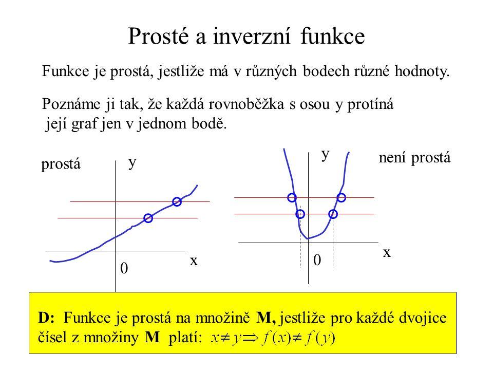 Prosté a inverzní funkce Funkce je prostá, jestliže má v různých bodech různé hodnoty. D: Funkce je prostá na množině M, jestliže pro každé dvojice čí