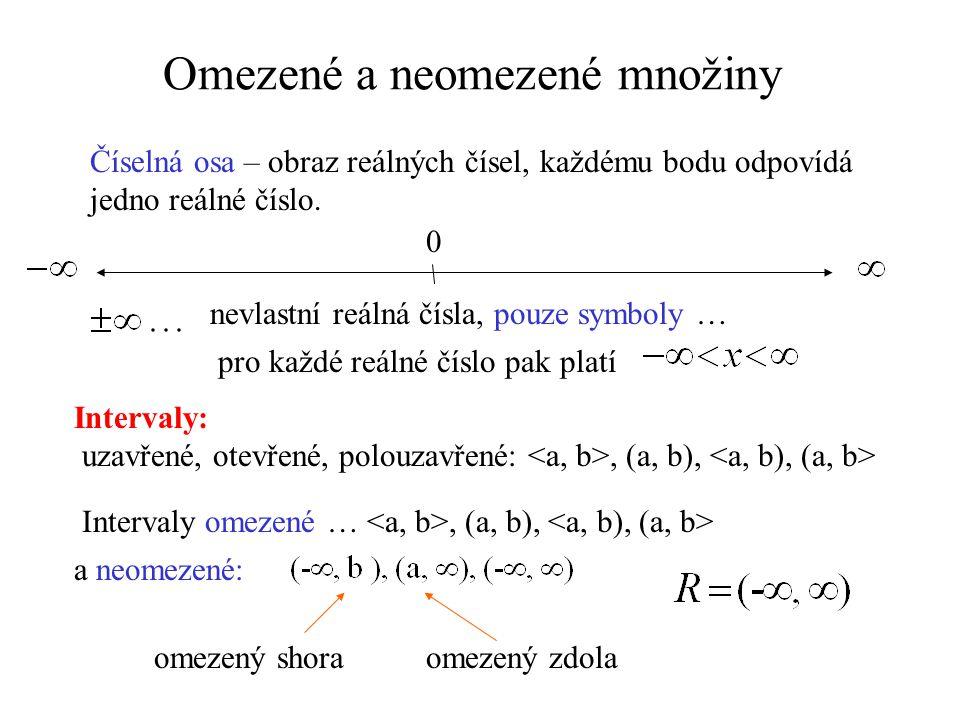 Omezené a neomezené množiny Číselná osa – obraz reálných čísel, každému bodu odpovídá jedno reálné číslo. nevlastní reálná čísla, pouze symboly … Inte
