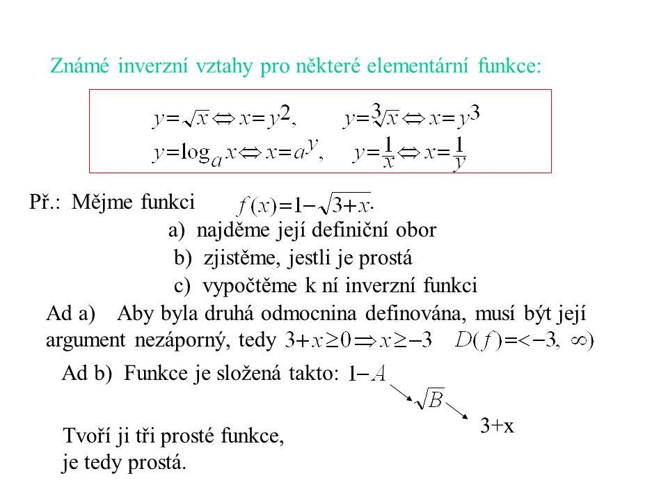 Známé inverzní vztahy pro některé elementární funkce: Př.: Mějme funkci. Ad a) Aby byla druhá odmocnina definována, musí být její argument nezáporný,