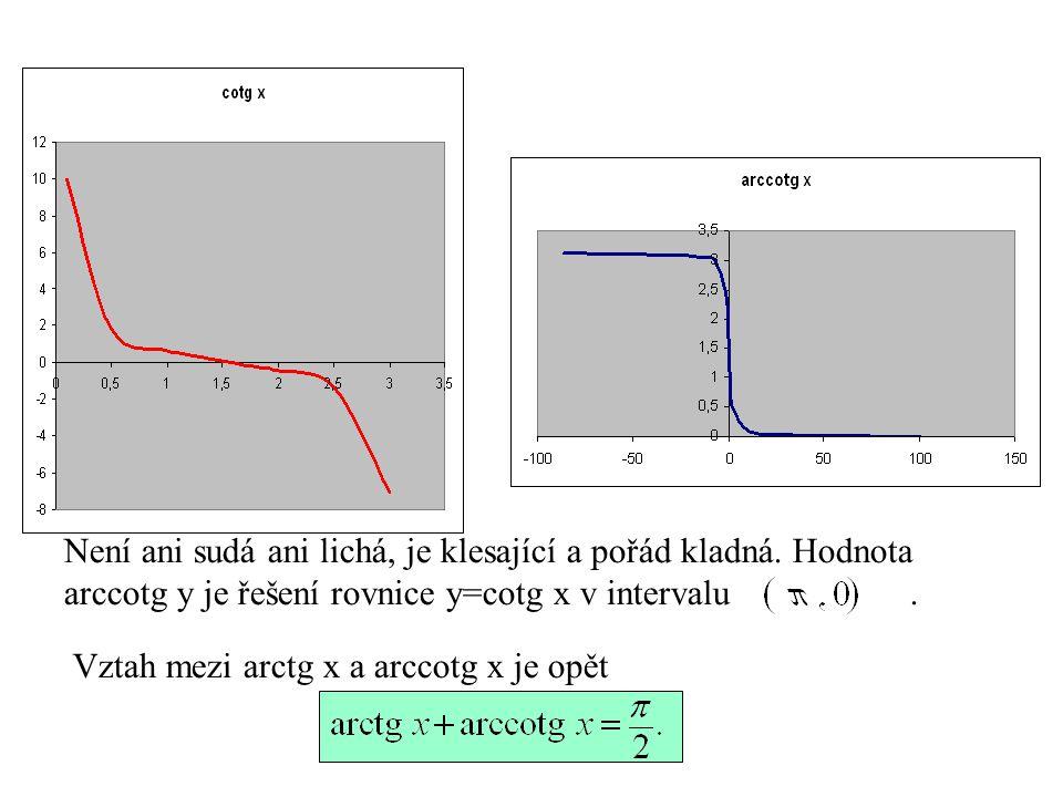 Není ani sudá ani lichá, je klesající a pořád kladná. Hodnota arccotg y je řešení rovnice y=cotg x v intervalu. Vztah mezi arctg x a arccotg x je opět