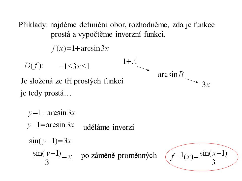 Příklady: najděme definiční obor, rozhodněme, zda je funkce prostá a vypočtěme inverzní funkci. Je složená ze tří prostých funkcí je tedy prostá… uděl