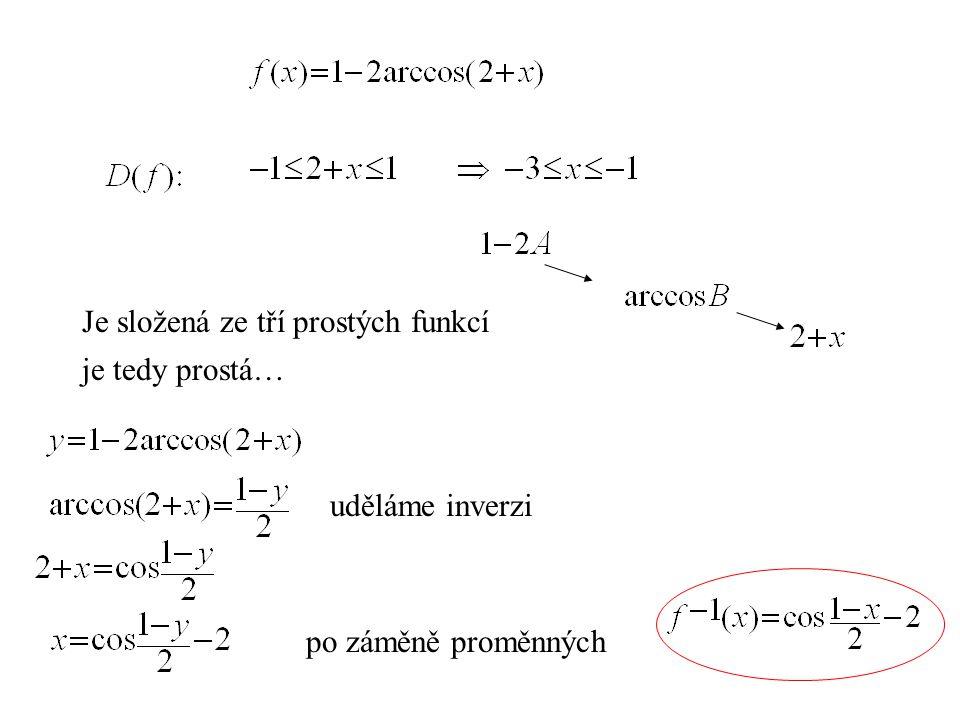 Je složená ze tří prostých funkcí je tedy prostá… uděláme inverzi po záměně proměnných