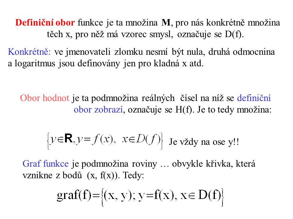 0 y x D(f) x f(x) graf f H(f) Kolmý průmět grafu na osu x je vždy definiční obor D(f) Kolmý průmět grafu na osu y je vždy obor hodnot H(f) Cíl dalšího snažení – vyšetřit co nejvíce vlastností funkce a nakreslit její graf.