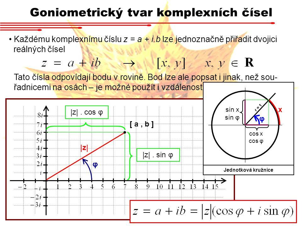 Goniometrický tvar komplexních čísel Každému komplexnímu číslu z = a + i.b lze jednoznačně přiřadit dvojici reálných čísel Tato čísla odpovídají bodu