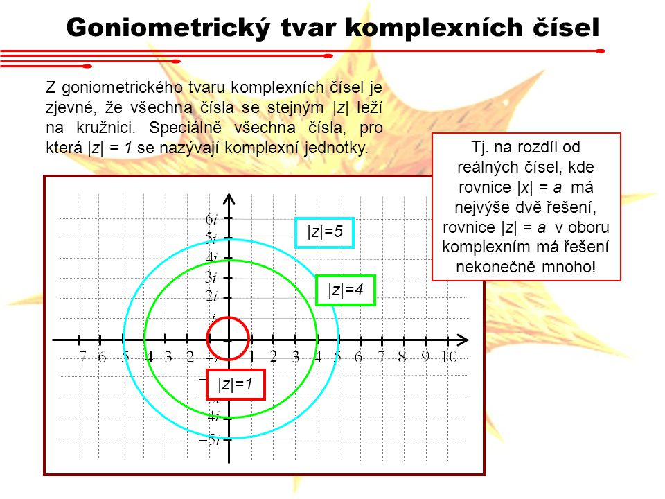 Goniometrický tvar komplexních čísel Z goniometrického tvaru komplexních čísel je zjevné, že všechna čísla se stejným |z| leží na kružnici. Speciálně