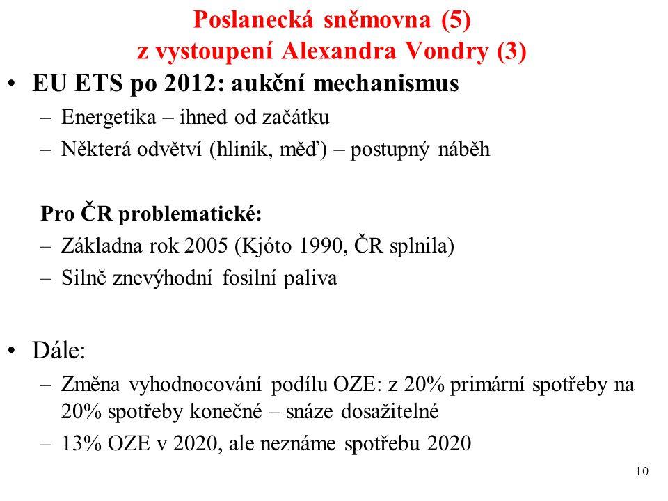 Poslanecká sněmovna (5) z vystoupení Alexandra Vondry (3) EU ETS po 2012: aukční mechanismus –Energetika – ihned od začátku –Některá odvětví (hliník,