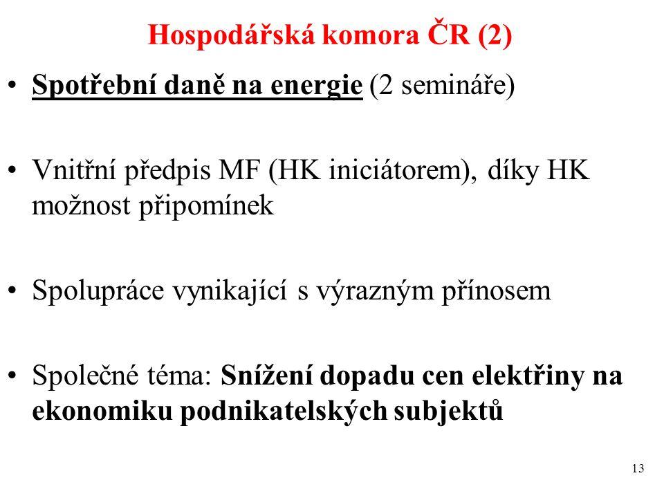 Hospodářská komora ČR (2) Spotřební daně na energie (2 semináře) Vnitřní předpis MF (HK iniciátorem), díky HK možnost připomínek Spolupráce vynikající