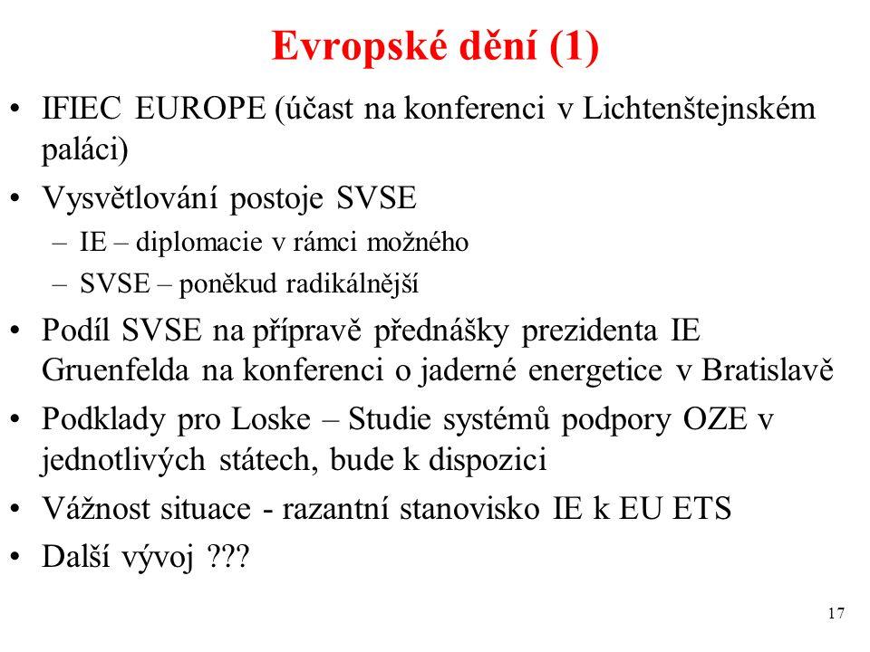 Evropské dění (1) IFIEC EUROPE (účast na konferenci v Lichtenštejnském paláci) Vysvětlování postoje SVSE –IE – diplomacie v rámci možného –SVSE – poně