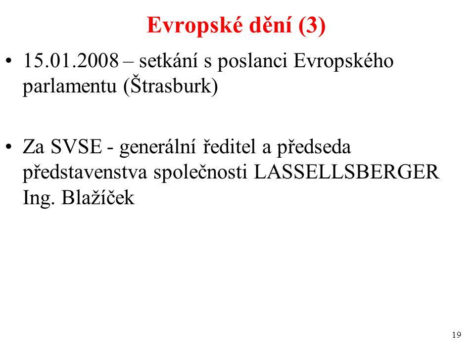 Evropské dění (3) 15.01.2008 – setkání s poslanci Evropského parlamentu (Štrasburk) Za SVSE - generální ředitel a předseda představenstva společnosti