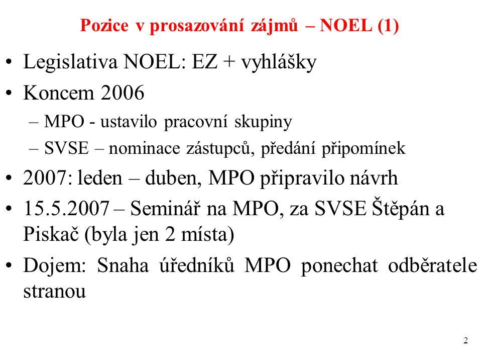 Pozice v prosazování zájmů – NOEL (1) Legislativa NOEL: EZ + vyhlášky Koncem 2006 –MPO - ustavilo pracovní skupiny –SVSE – nominace zástupců, předání
