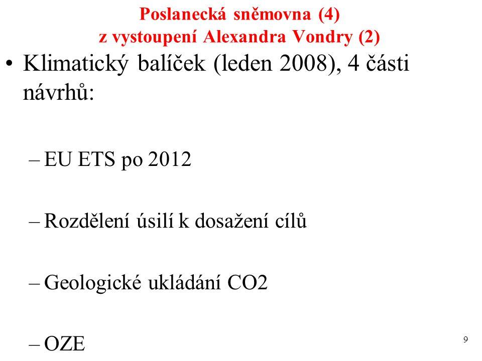 Poslanecká sněmovna (4) z vystoupení Alexandra Vondry (2) Klimatický balíček (leden 2008), 4 části návrhů: –EU ETS po 2012 –Rozdělení úsilí k dosažení