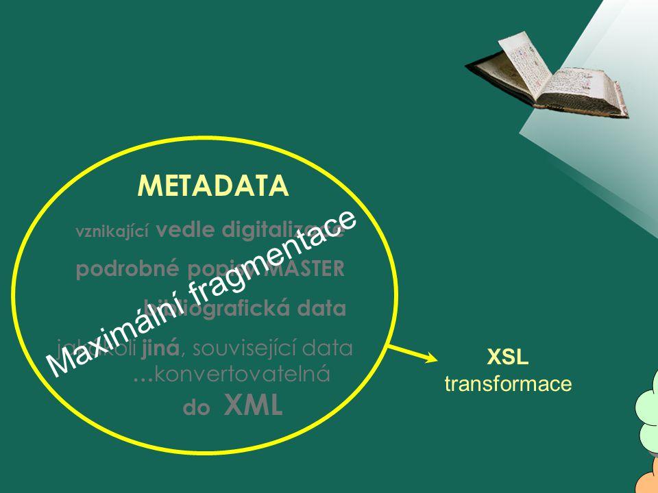 METADATA vznikající vedle digitalizace podrobné popisy MASTER bibliografická data jakákoli jiná, související data … konvertovatelná do XML nástroj Maximální fragmentace XSL transformace Účelná fragmentace Jiná účelnější fragmentace Jiná účelnější fragmentace nejúčelnější fragmentace nejúčelnější fragmentace interpretace