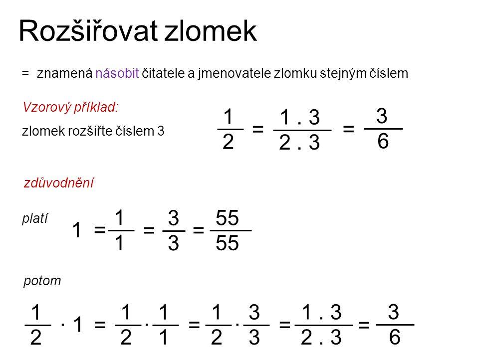 Rozšiřovat zlomek = znamená násobit čitatele a jmenovatele zlomku stejným číslem 1 2 3 6 1. 3 2. 3 Vzorový příklad: zlomek rozšiřte číslem 3 = = zdůvo