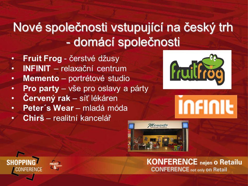 Nové společnosti vstupující na český trh - domácí společnosti Fruit Frog - čerstvé džusy INFINIT – relaxační centrum Memento – portrétové studio Pro party – vše pro oslavy a párty Červený rak – síť lékáren Peter´s Wear – mladá móda Chirš – realitní kancelář