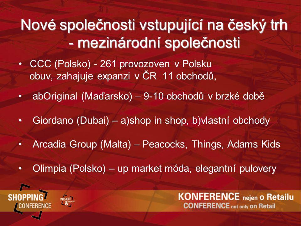 Nové společnosti vstupující na český trh - mezinárodní společnosti CCC (Polsko) - 261 provozoven v Polsku obuv, zahajuje expanzi v ČR 11 obchodů, abOriginal (Maďarsko) – 9-10 obchodů v brzké době Giordano (Dubai) – a)shop in shop, b)vlastní obchody Arcadia Group (Malta) – Peacocks, Things, Adams Kids Olimpia (Polsko) – up market móda, elegantní pulovery