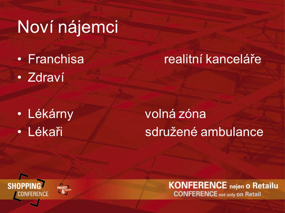 Noví nájemci Franchisa realitní kanceláře Zdraví Lékárny volná zóna Lékaři sdružené ambulance