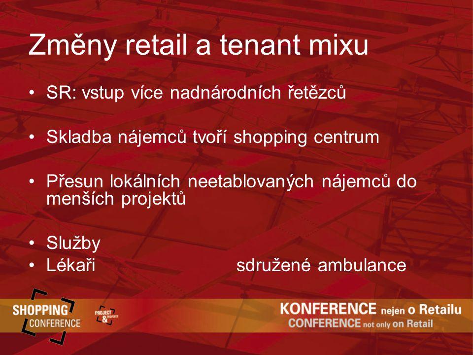 Změny retail a tenant mixu SR: vstup více nadnárodních řetězců Skladba nájemců tvoří shopping centrum Přesun lokálních neetablovaných nájemců do menších projektů Služby Lékaři sdružené ambulance