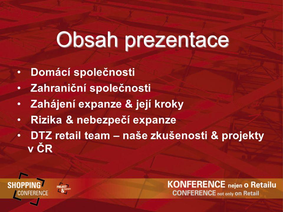 Obsah prezentace Domácí společnosti Zahraniční společnosti Zahájení expanze & její kroky Rizika & nebezpečí expanze DTZ retail team – naše zkušenosti & projekty v ČR