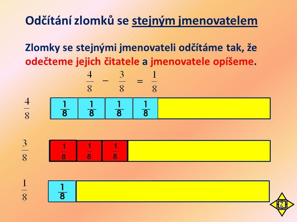Odčítání zlomků se stejným jmenovatelem Zlomky se stejnými jmenovateli odčítáme tak, že odečteme jejich čitatele a jmenovatele opíšeme. Z