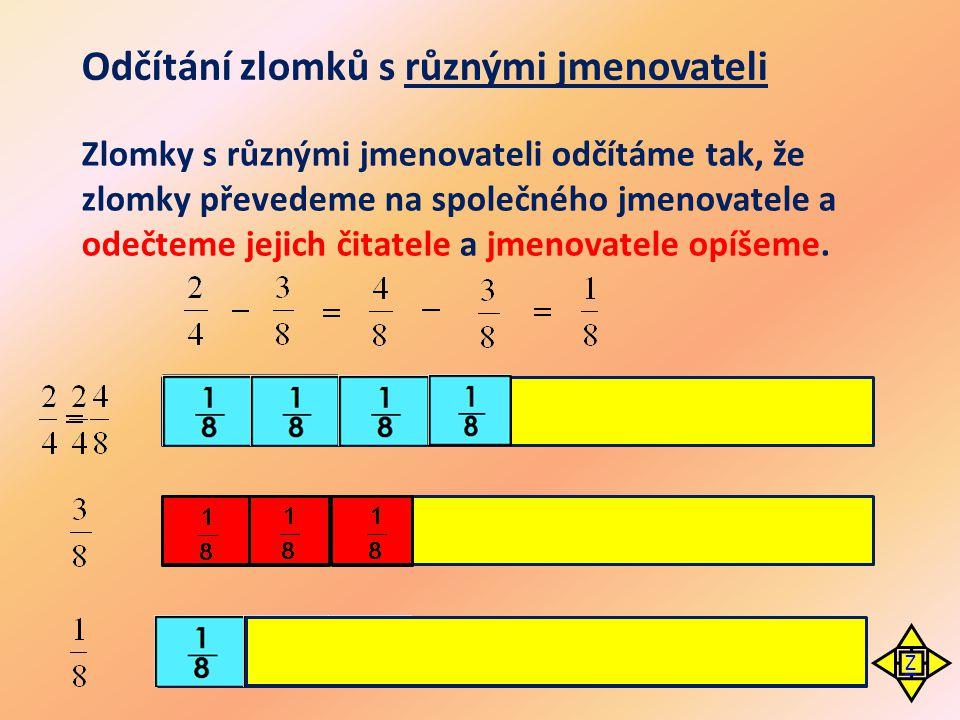 Odečti zlomky ·2 ·3 Zlomek rozšíříme 2 ·5·3 ·5 ·7·9 Společný jmenovatel 24 ·8 Společný jmenovatel 15 Celek vyjádříme zlomkem Zlomek rozšíříme 5Zlomek rozšířený 5 Zlomky rozšíříme Z