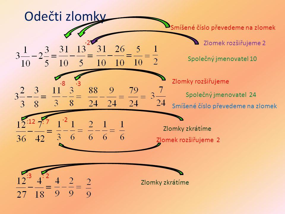 Odečti zlomky ·2 Smíšené číslo převedeme na zlomek Zlomek rozšiřujeme 2 Zlomky zkrátíme Společný jmenovatel 10 ·8 ·3 Zlomky rozšiřujeme Zlomek rozšiřu