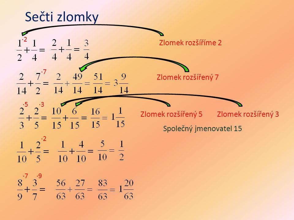 Sečti zlomky ·2 ·7 Zlomek rozšíříme 2 Zlomek rozšířený 7 ·5·3 Zlomek rozšířený 5Zlomek rozšířený 3 ·2 ·7·9 Společný jmenovatel 15