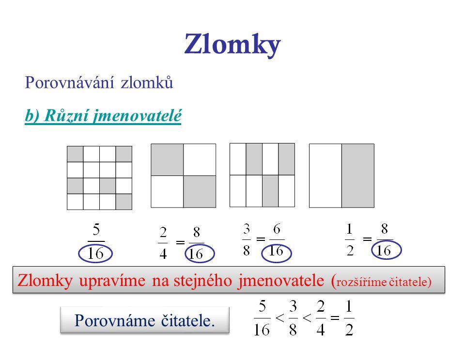 Zlomky Porovnávání zlomků b) Různí jmenovatelé Zlomky upravíme na stejného jmenovatele ( rozšíříme čitatele) Porovnáme čitatele.