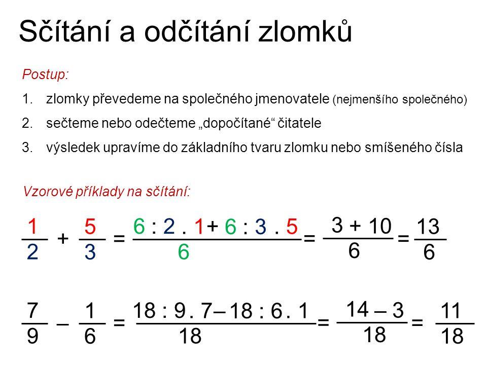 """Sčítání a odčítání zlomků Postup: 1.zlomky převedeme na společného jmenovatele (nejmenšího společného) 2.sečteme nebo odečteme """"dopočítané"""" čitatele 3"""