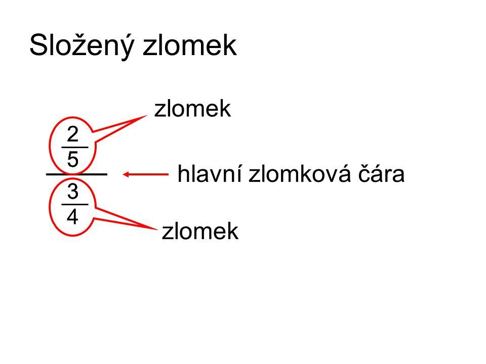 Složený zlomek 2 5 2 5 33 4 zlomek hlavní zlomková čára
