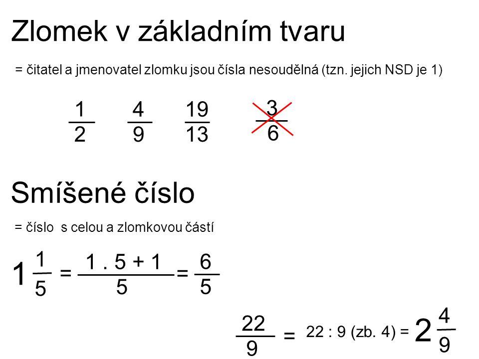 6 5 = číslo s celou a zlomkovou částí Smíšené číslo 1 2 3 6 = čitatel a jmenovatel zlomku jsou čísla nesoudělná (tzn. jejich NSD je 1) 4 9 19 13 Zlome