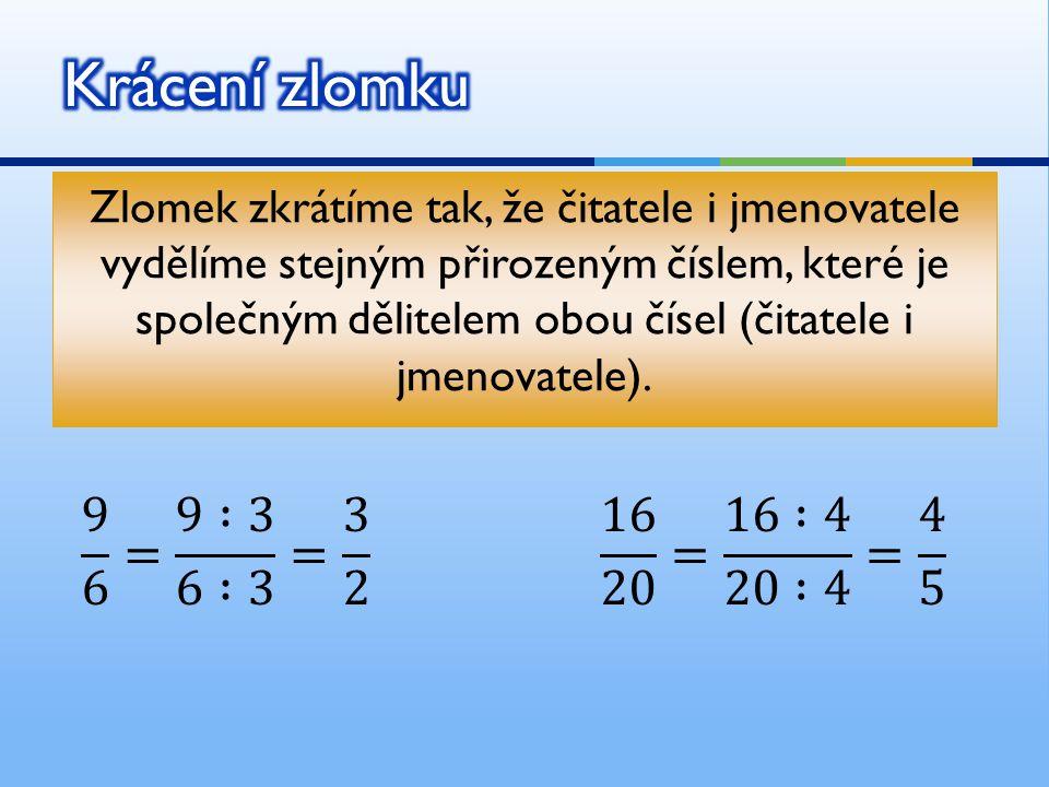 Zlomek zkrátíme tak, že čitatele i jmenovatele vydělíme stejným přirozeným číslem, které je společným dělitelem obou čísel (čitatele i jmenovatele).