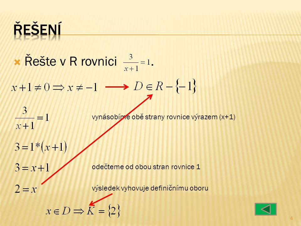  Řešte v R rovnici 5