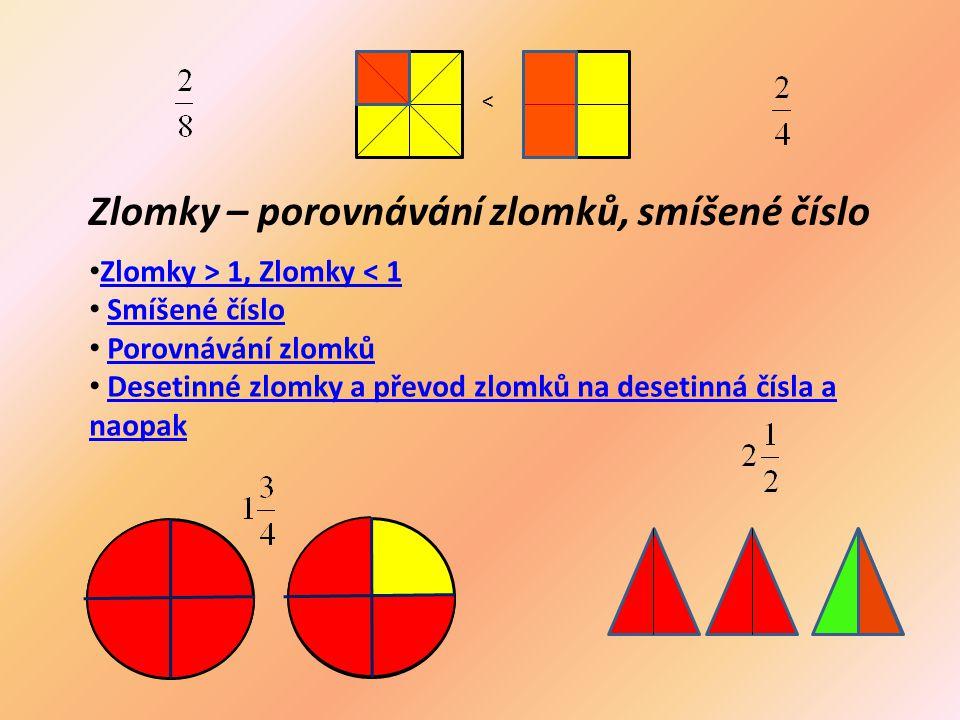 Zlomky – porovnávání zlomků, smíšené číslo < Zlomky > 1, Zlomky < 1 Smíšené číslo Porovnávání zlomků Desetinné zlomky a převod zlomků na desetinná čís