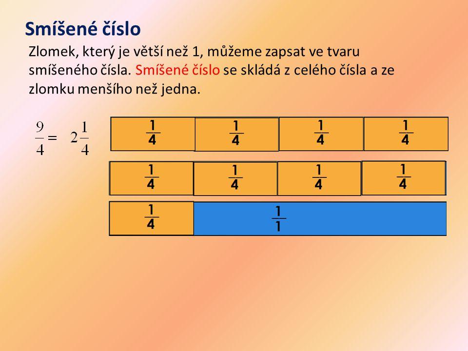 Smíšené číslo Zlomek, který je větší než 1, můžeme zapsat ve tvaru smíšeného čísla. Smíšené číslo se skládá z celého čísla a ze zlomku menšího než jed