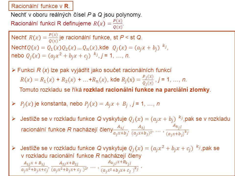 Racionální funkce v R.