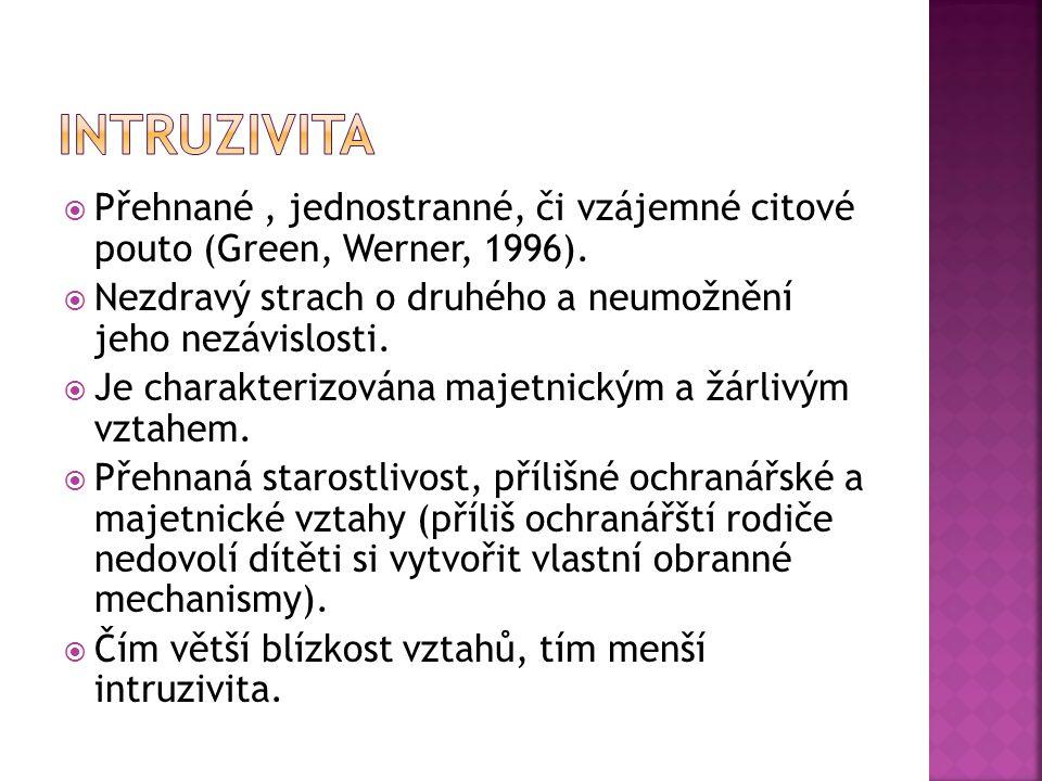  Přehnané, jednostranné, či vzájemné citové pouto (Green, Werner, 1996).